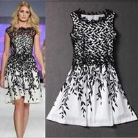 adult printed t shirt - Women s dress plus size summer dresses Lace stitching leaf print sleeveless T shirt fashion skirt Mini vintage skirts Wedding dresses A11