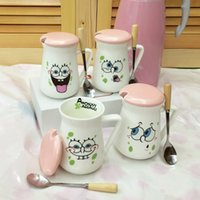 Wholesale HOT Christmas Gift Expression Ceramic Cup Tea Cups Coffee ml Starbucks Matt cup with cover and spoon Mug