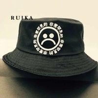 Ведра оптовой Цены-Оптовая-Не выцветает хлопок 100% дышащий черный печати хип-хоп шапка грустные мальчиков панамы ведро шляпы мужчины боб Boonie рыбалка шляпа размер 58см