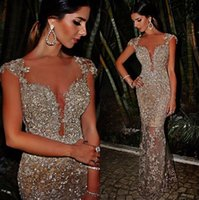 Wholesale Luxury Sexy Cap Sleeve Mermaid Silver Beaded Crystals Sequins Appliques Long Champagne Prom Dresses Evening Gowns robe de soiree