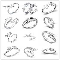 angels fox - 925 Sterling Silver Jewerly Rings Dolphins Dragonfly Wings Of The Angel Love Fox Butterfly Opening Adjustable Ring For Women