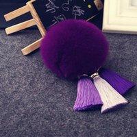 antique black bottles - Real Rabbit Fur Ball Plush Fur Key Chain POM POM Keychain Tassel Pompom Car Bag Keychain Key Ring Pendant Jewelry