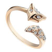anniversary gift ideas women - 10pcs Gold Silver Wrap Animal Fox Ring Women Adjustable Austrian Crystal Tail Ring Bague Bijoux Wedding Ring Gift Idea