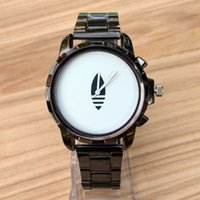 ad fashion - Casual AD Clover Men s Leaves leaf style dial Black Metal Steel band Analog Quartz watch With logo