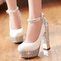 high heel red sole - Women Red Sole Ankle Strap High heels Sequins Thick Heel Platform Pumps Women Wedding Shoes Plus Size White Silver Gold Red