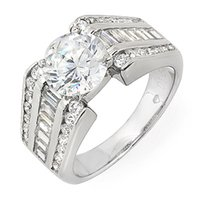baguette anniversary rings - EGL k W G TCW Channel Style Round Baguette Cut Diamond Engagement Ring