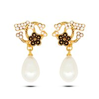 Wholesale Japanese and South Korea new enamel flower inlaid pearl studs earrings real gold plated allergy free earrings women fashion jewelry