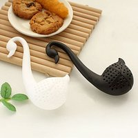 Wholesale New Nolvety Gift Swan Spoon Tea Strainer Infuser Teaspoon Filter Creative Plastic Tea Tools Kitchen Accessories