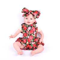 baby red headbands - 2016 New Summer Baby headband Girls Dresses Romper plus Cross headband combination Set red colors rose flower Pattern skirt