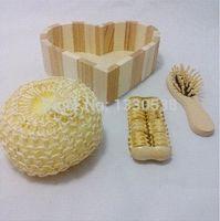 Wholesale New fashion bathroom accessories wooden bath set Pieces cleansers hair brush bath suit M