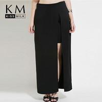 Wholesale Kissmilk Plus Size Women XL XL XL XL High Waist Big Large Size Summer Split Slit Full Length Open Long Maxi Skirt