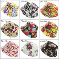 Wholesale Women Bucket Hat Women Flower Caps Summer Sun Hat for Women Floral Print Bucket Hats for women Sunscreen Fishing caps styles D490