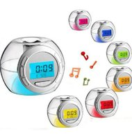 Wholesale Creative colorful clock LED night light with temperature natural sound music shine ball alarm clock