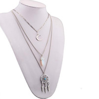 asian sweaters - Silver Multilayers Chain Necklace Top Quality Moon Hexagon Dreamcatcher Pendant Sweater Chain Womens Fashion Charms Jewelry