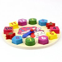 Wholesale 1pcs Early Educational Wooden Montessori Geometry Shape Number Colour Learning Clock Building Blocks Toys Sets
