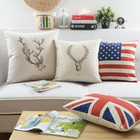 Wholesale Retro deer independent freedom word The Union Jack Flag The stars and stripes flag pattern Cushion Cover throw pillow Case