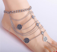 Wholesale European Fashion Beach Wear Jewelry Vintage Metal Silver Coin Multi layers Tassel Anklets Bracelets For Women