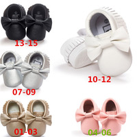 Wholesale New Arrivals Baby Toddler First Walker Shoes Bow Tassel Soft Bottom PU Leather Size CM KA475