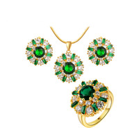 Wholesale Fashion Jewelry Set Pendant Necklace Earrings Ring Kit K Gold Plated with A Cubic Zirconia Retro Style High Quality Gift For Women
