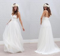 Wholesale Simple Cheap Boho Beach Wedding Dress Soft Tulle Pleated Deep V neck Spaghetti straps Backless Long Bridal Wedding Dresses Gowns