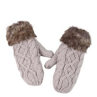 Wholesale Delicate Lovely Women Double Deck Wool Hang Neck Mittens Knitted Warm Fur Gloves Hot Selling