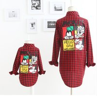 Wholesale 2016 Autumn Mother And Daughter Fashion Shirts Kids Cartoon Mickey Mouse Long Sleeve Shirt Children Plaid Cotton Casual Shirts Girl Shirts
