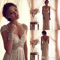 ball gowns sleeves - 2016 Sexy Anna Campbell Backless Wedding Ball Gowns Cheap Beach Wedding Dresses Beads Capped Sleeves Vintage Lace Greek Bridal Gowns