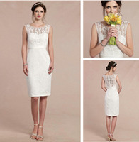 Wholesale sash lace scoop sleeveless wedding dress beads sexy covered button knee length beach wedding dresses