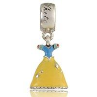 Nouveau 100% 925 Sterling Silver Snow White DRESS Head Charm bead S925 Stamped Fits pandora Snake Chain Bracelet Fashion DIY Jewelry