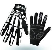 Wholesale Punk Skull Bone Full Finger Cycling Gloves Breathable Damping Non slip Skeleton Warm Gloves