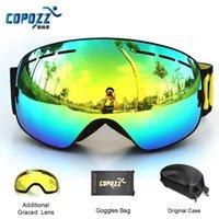 Wholesale COPOZZ brand professional ski goggles double lens anti fog UV400 big spherical ski glasses skiing men women snow goggles Set