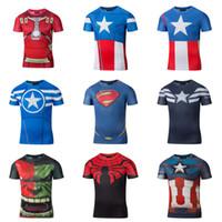 Wholesale 2016 D print men T shirt Revenge alliance Iron man superhero America captain T shirt male spider manTights quick drying fitness shirt