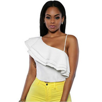 Wholesale Adogirl Women Ruffles Crop Top One Shoulder Spaghetti Strap Sexy Backless White Camisole Tops Summer Asymmetrical Tshirt Female