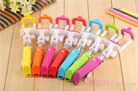 Wholesale 1000set Universal Extendable Folding Wired mini rainbow Selfie Stick monopod for iphone sumsung selfie camera