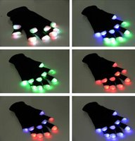 Wholesale Halloween Christmas LED gloves party glow gloves Concert noctilucent luminous gloves finger Flashing gifts