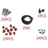 Wholesale 20m DIY Micro Red Drip Irrigation System Plant Self Watering Garden Hose Watering Kit with a quick coupler