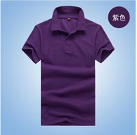 women's polo shirts - polo shirt Men s and women s short sleeve pure color cotton T shirt cleaning restaurant lapel blouse supermarkets overalls