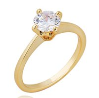 Wholesale Classical18K Real Gold Plated Claw CZ Diamond Wedding Ring Fashion Jewelry Austrian Crystals For Women