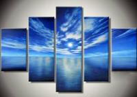 Blue Ocean Белые Облака 5 Панели Современные Пейзаж Artwork 100% ручной росписью картины маслом на холсте стены искусства дома украшения