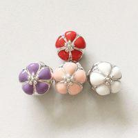 Wholesale HYWo vintage Sterling Silver Bead Charm White Flower Location Buckle Beads Fit Women Bracelet Bangle DIY Jewelry