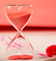 Wholesale Crystal transparent hourglass sandglass timer glass full glass heart shape minutes hourglass sandglass timer crafts