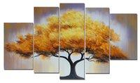 Wholesale 100 Hand Painted Art Oil Paintings Elegant Golden Tree Panels Wood Framed Inside For Living Room Art Work Home Decoration