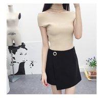 Wholesale 2016 New Style Ladies Elegant Knits Tees Short Sleeve Slim Stretch OL Sweater Shirt Tops Tees Women Clothing Slash Neck Off shoulder