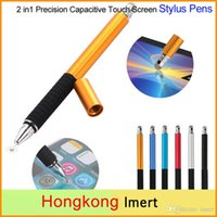 Wholesale 2 in Multifunction Fine Point Round Thin Tip Touch Screen Pen Capacitive Stylus Pen forTablet iPad For iPhone