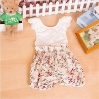 Wholesale Baby Floral Playsuit Rompers One Piece Romper Girls Outfit Flower Printed Baby Backless Romper with Lace Collar Hot Sale