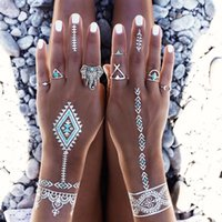 antique snake jewelry - Antique Silver Plated Vintage Bohemian Turkish Midi Ring Set Steampunk Steampunk Snake Turquoise Ring Knuckle Rings For Women Jewelry Wholes