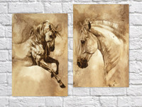 horse decor - 2PCS set Runing Horse Oil Painting for Home Bar Cafe Pub wall Decor x60cm Animal Pictures Wall Painting On Canvas