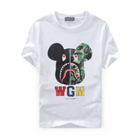 bear crew neck - 2016 Autumn shark t shirts ture brand Violent bear coat sweatshirts top mens designer clothes plus size black white Animal Print