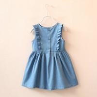 baby jean skirt - Female children s wear cowboy dress children summer new baby wave point vest skirt Fashion Jean Dress