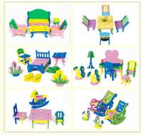 bedroom desk chairs - Play house toy EVA furniture assembly D house model Building blocks handcraft DIY Bedroom living room chair bed desk kids gift
